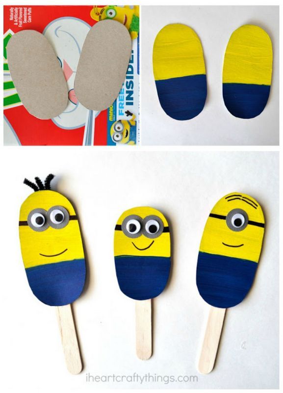 DIY minion craft ideas stick puppets